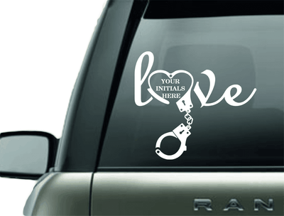 Vinyl Decal - LOVE MONOGRAM POLICE HANDCUFF VINYL DECAL