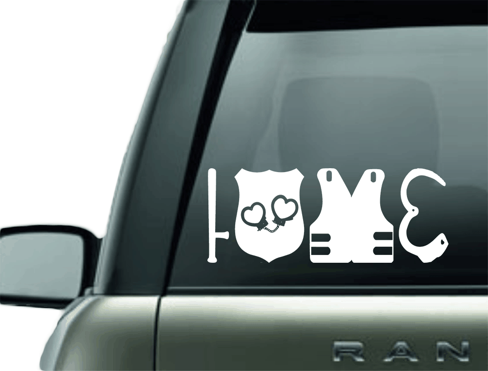 Vinyl Decal - LOVE POLICE BLUE LINE SUPPORT VINYL DECAL