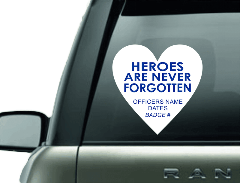 Vinyl Decal - PERSONALIZED POLICE MEMORIAL VINYL CAR DECAL