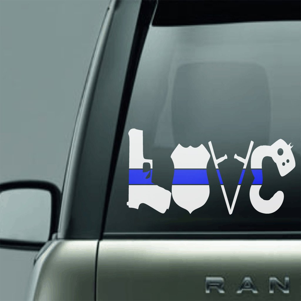 Vinyl Decal - POLICE LOVE BLUE LINE LAW ENFORCEMENT SUPPORT VINYL DECAL