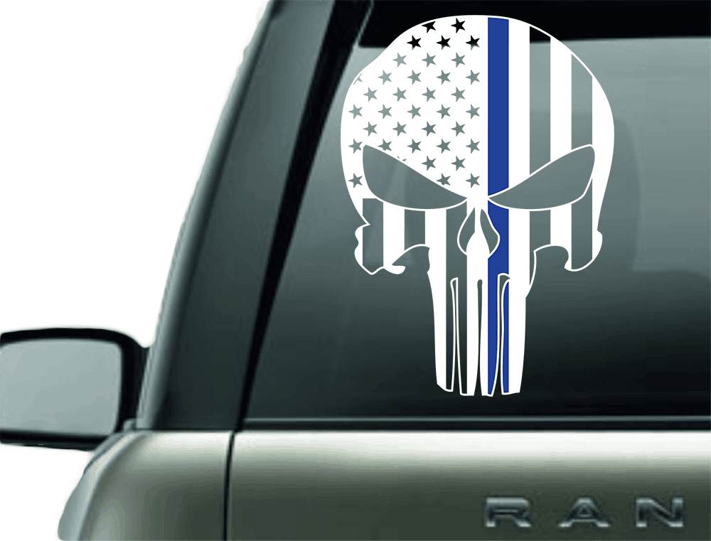 PUNISHER POLICE BLUE LINE SUPPORT VINYL DECAL