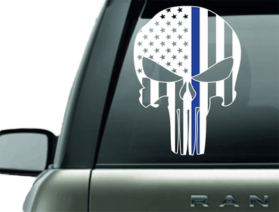 Vinyl Decal - PUNISHER POLICE BLUE LINE SUPPORT VINYL DECAL