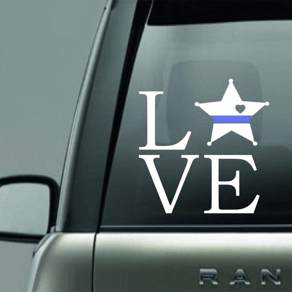 Vinyl Decal - SQUARE DEPUTY LOVE BLUE LINE LAW ENFORCEMENT SUPPORT VINYL DECAL