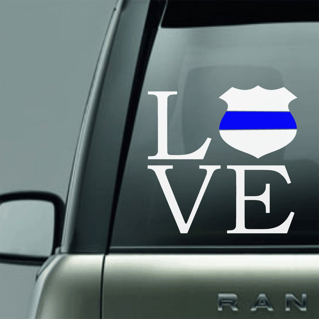 SQUARE POLICE LOVE BLUE LINE LAW ENFORCEMENT SUPPORT VINYL DECAL