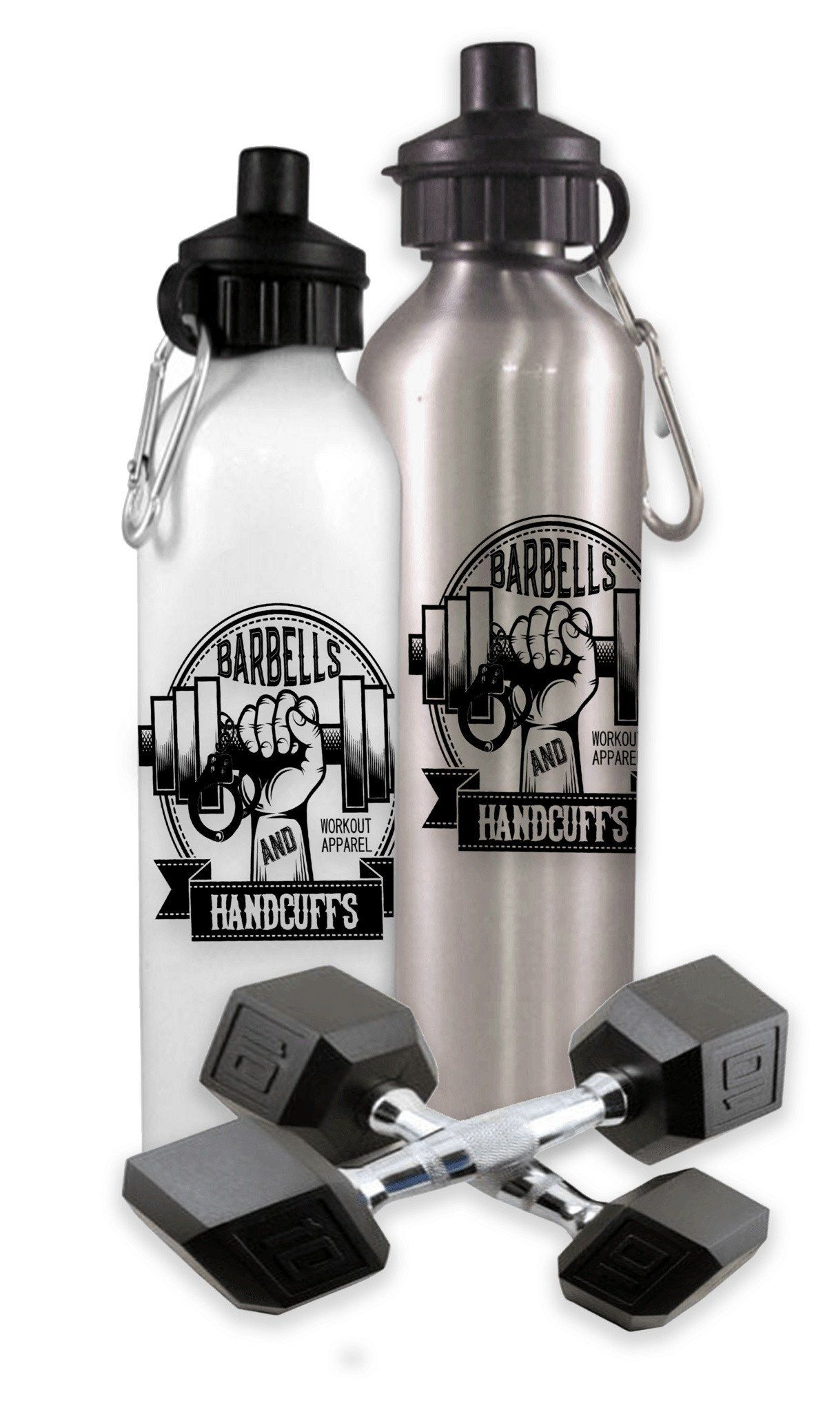 BARBELLS & HANDCUFFS LOGO SPORTS WATER BOTTLE