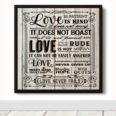 WOOD SIGN - LOVE IS PATIENT & KIND BIBLE VERSE DECORATIVE WOODEN WALL ART
