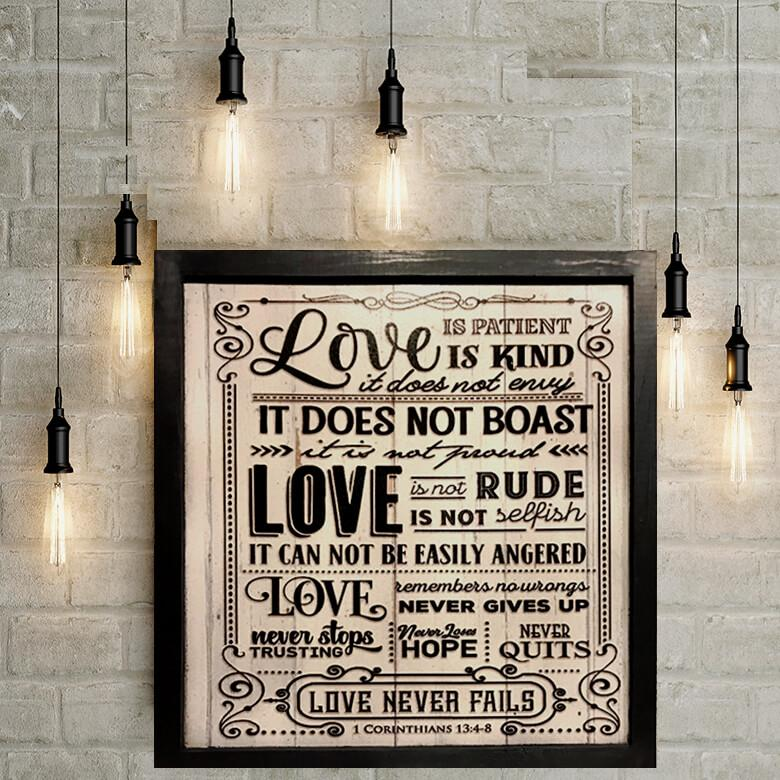 LOVE IS PATIENT & KIND BIBLE VERSE DECORATIVE METAL WALL ART