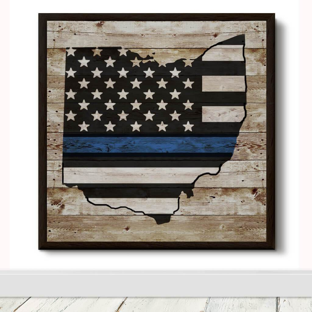 WOOD SIGN - STATE BLUE LINE FLAG DECORATIVE WOODEN WALL ART
