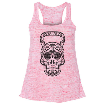 Workout Design - DAY OF THE DEAD SKULL KETTLEBELL DISTRESSED STYLE SHIRT