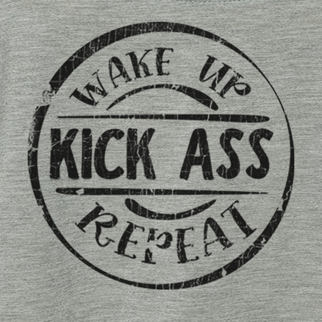 Workout Design - WAKE UP KICK ASS REPEAT FUNNY ATHLETIC SHIRT