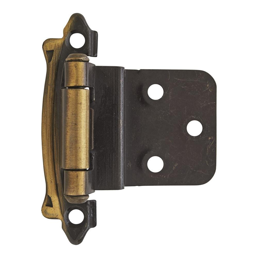 Amerock Functional Hardware Face Mount Cabinet Hinge - 2 Pack - Antique Brass - BPR7328AE