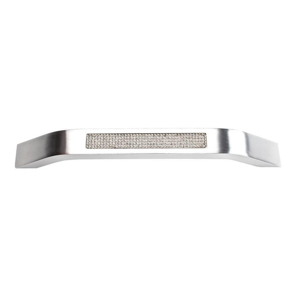 Atlas Homewares Boutique Crystal Pave Modern Pull Cabinet Pull Matte Polished Chrome and Crystal / 7-1/5 in