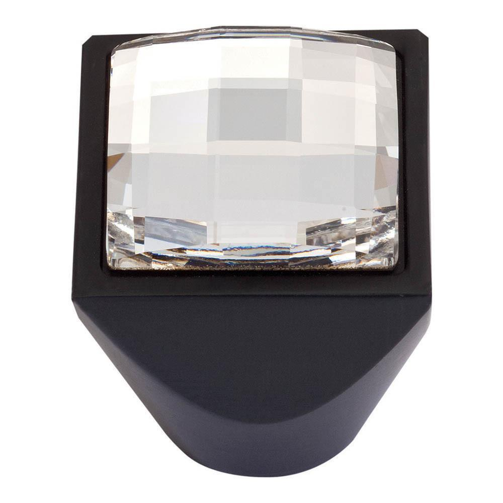 Atlas Homewares Boutique Crystal Pave Modern Square Knob Cabinet Knob Matte Black and Crystal / 1 in