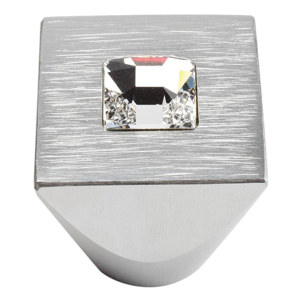 Atlas Homewares Boutique Crystal Pave Square Knob Cabinet Knob Matte Polished Chrome and Crystal / 1 in