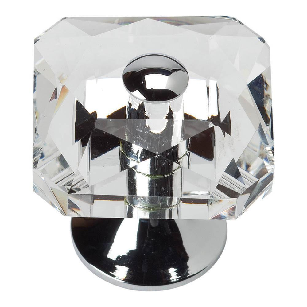 Atlas Homewares Boutique Crystal Pave Vintage Square Knob Cabinet Knob Black and Crystal / 1-1/2 in