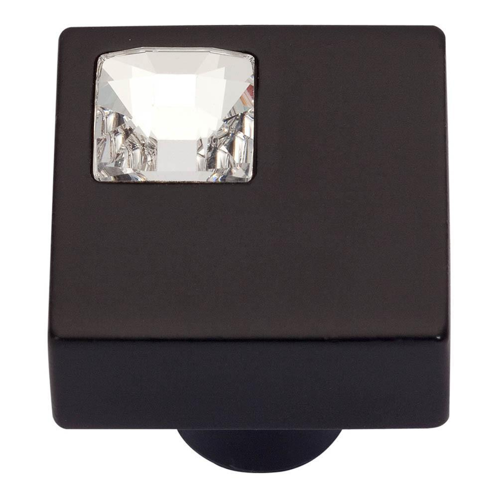 Atlas Homewares Boutique Crystal Square Knob Cabinet Knob Matte Black and Crystal / 1 in