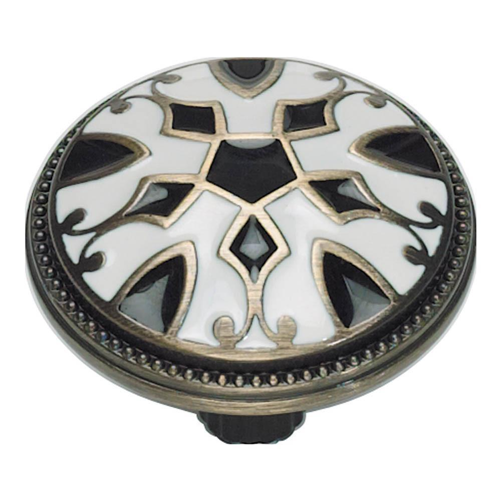 Atlas Homewares Canterbury Round Knob Cabinet Knob Black and White and Antique Brass / 1-1/2 in