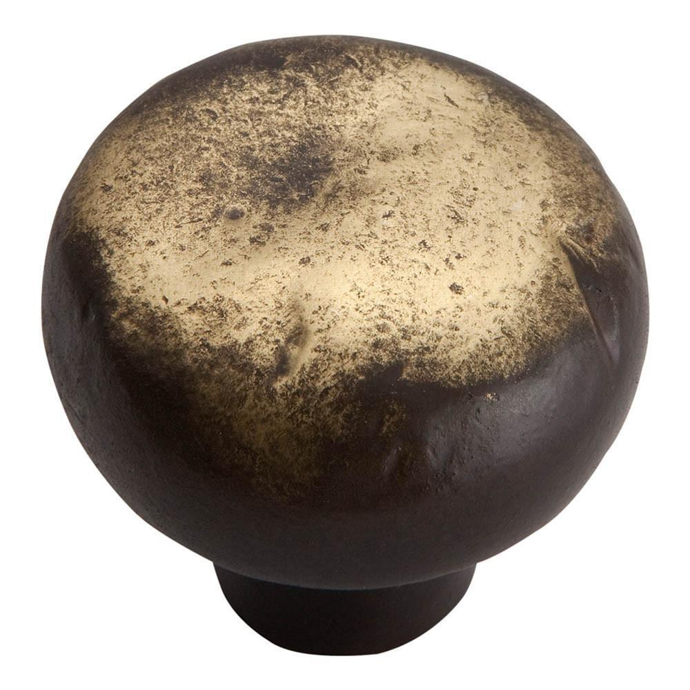 Atlas Homewares Distressed Round Knob Cabinet Knob Antique Bronze / 1-3/8 in