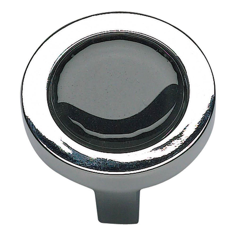 Atlas Homewares Spa Round Knob Cabinet Knob Black with Brushed Nickel / 1-1/4 in