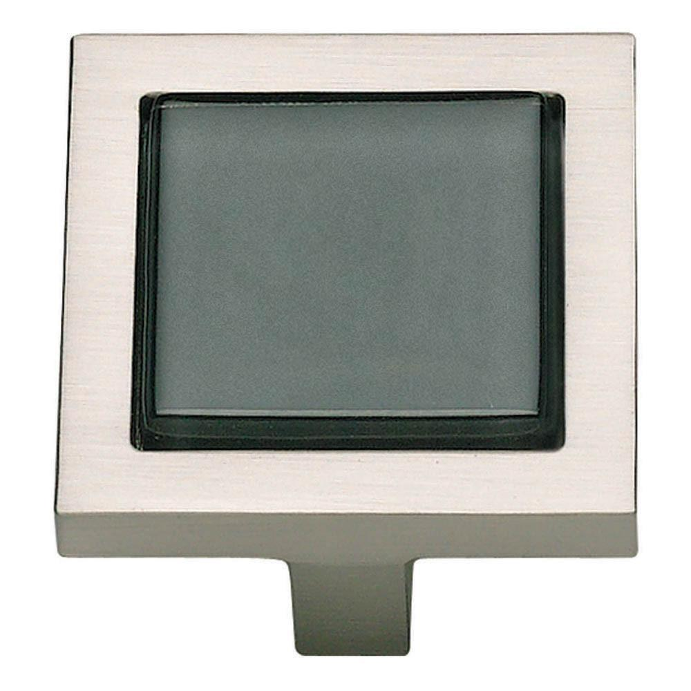 Atlas Homewares Spa Square Knob Cabinet Knob Black with Brushed Nickel / 1-3/8 in