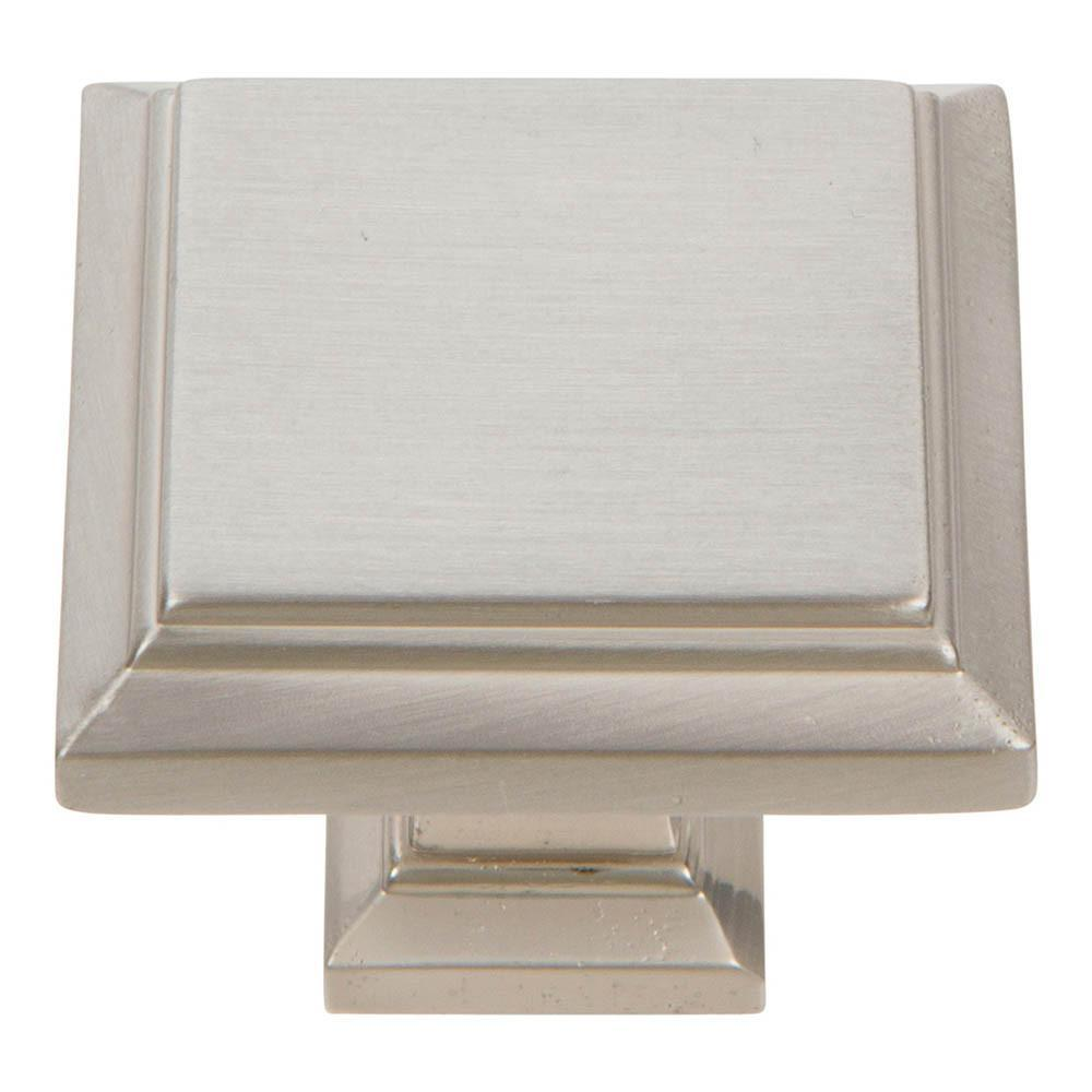 Atlas Homewares Sutton Place Square Knob Cabinet Knob Brushed Nickel / 1-1/4 in