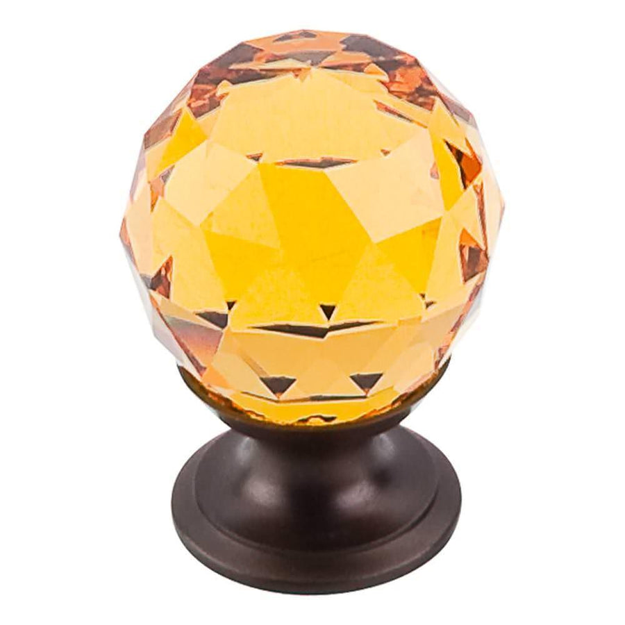 Top Knobs Crystal Knob Cabinet Knob Amber and Brushed Satin Nickel / 1-1/8 in