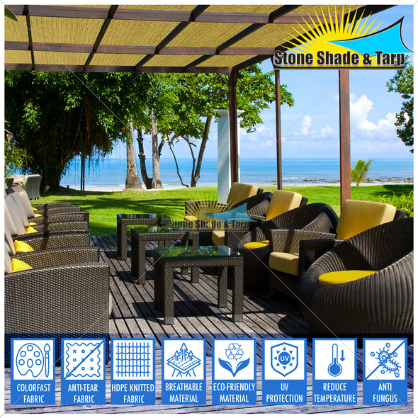 Top quality Thick fabric UV treated Patio, Gazebo, Lanai, Deck, Gargden shade cloths roll Unfabricated COLOR TAN