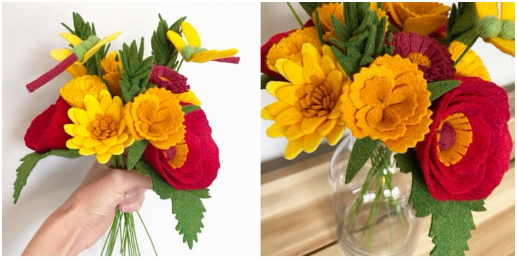 felt flower autumn bouquet by the handmade florist