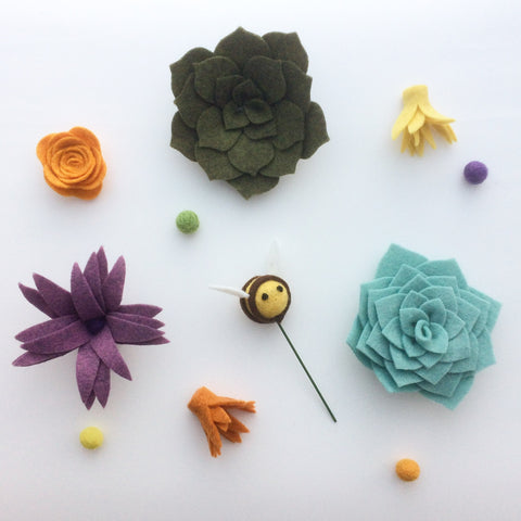 felt flowers and succulents by the handmade florist