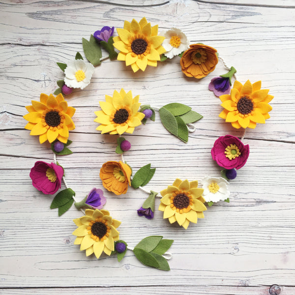 Sunshine Flower Garland felt flowers by The Handmade Florist