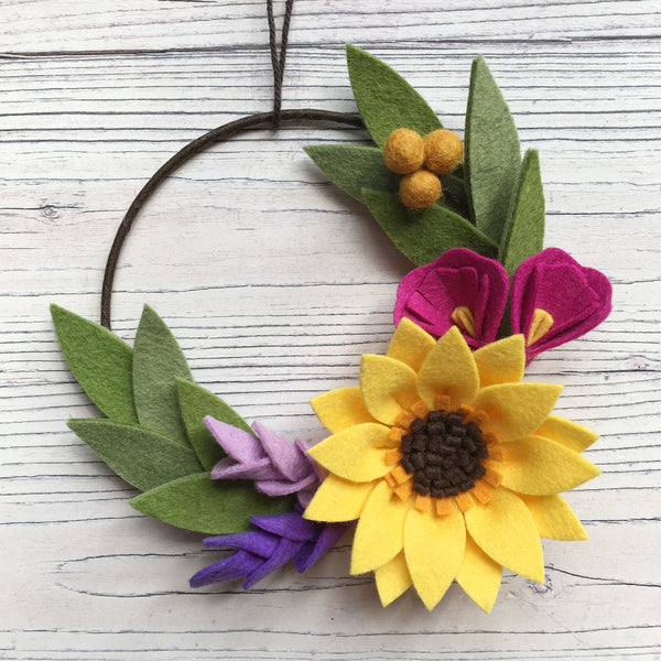 Sunshine Mini Wreath felt flower wreath by The Handmade Florist