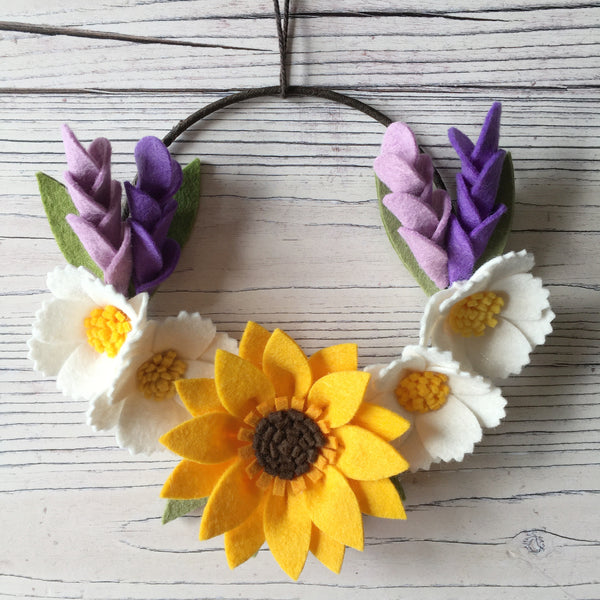 Cosmos Mini Wreath felt flower wreath by The Handmade Florist