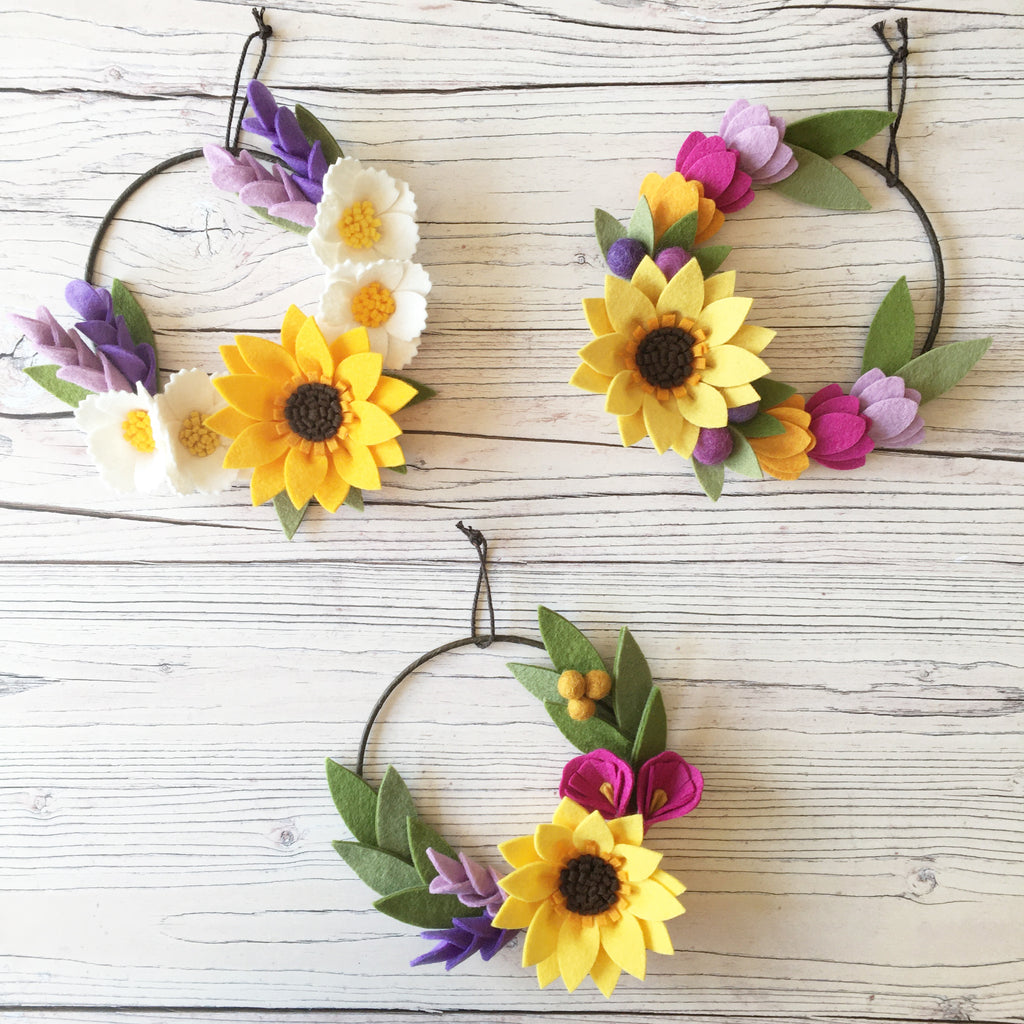 Sunshine Collection Mini Wreath trio by The Handmade Florist