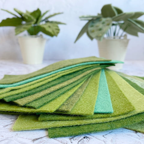 Felt scraps project pack: green shades