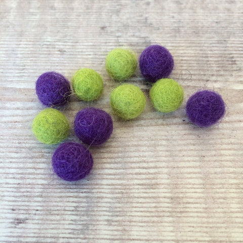 Felt balls: 1cm lime green and purple (pack of 10)