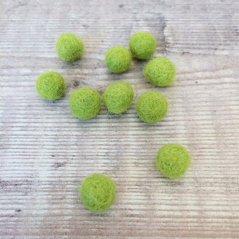 Felt balls: 1cm lime green (pack of 10)