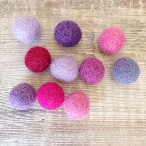 Felt balls: 2cm pink and purple mix (pack of 10)