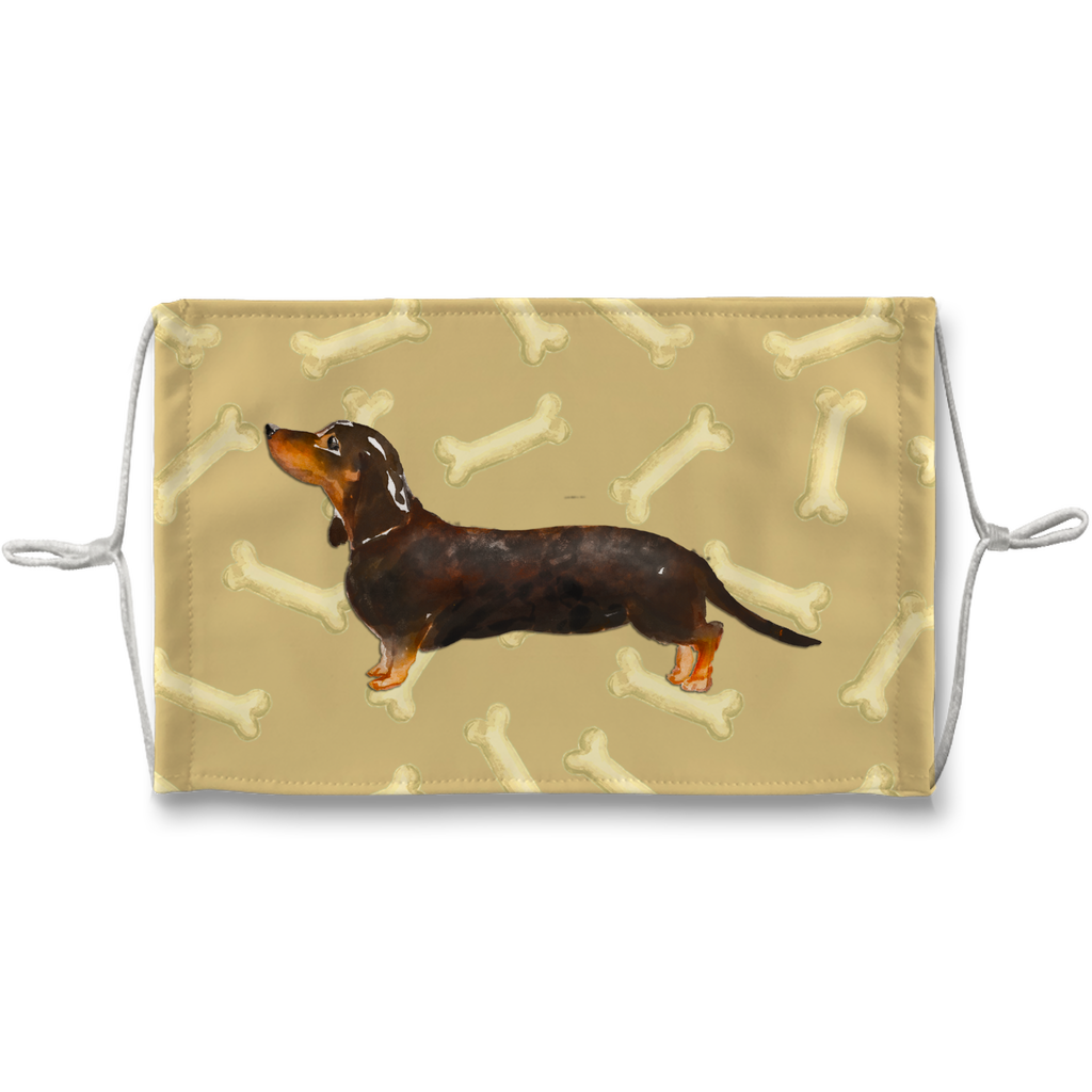 Dachshund Dog Tan Bones Sublimation Face Mask