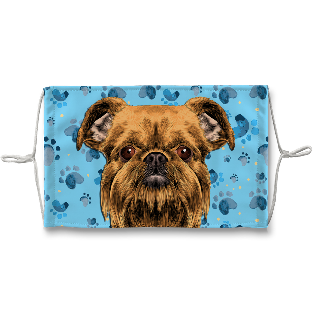 Brussels Griffon Dog Blue Paw Print Sublimation Face Mask