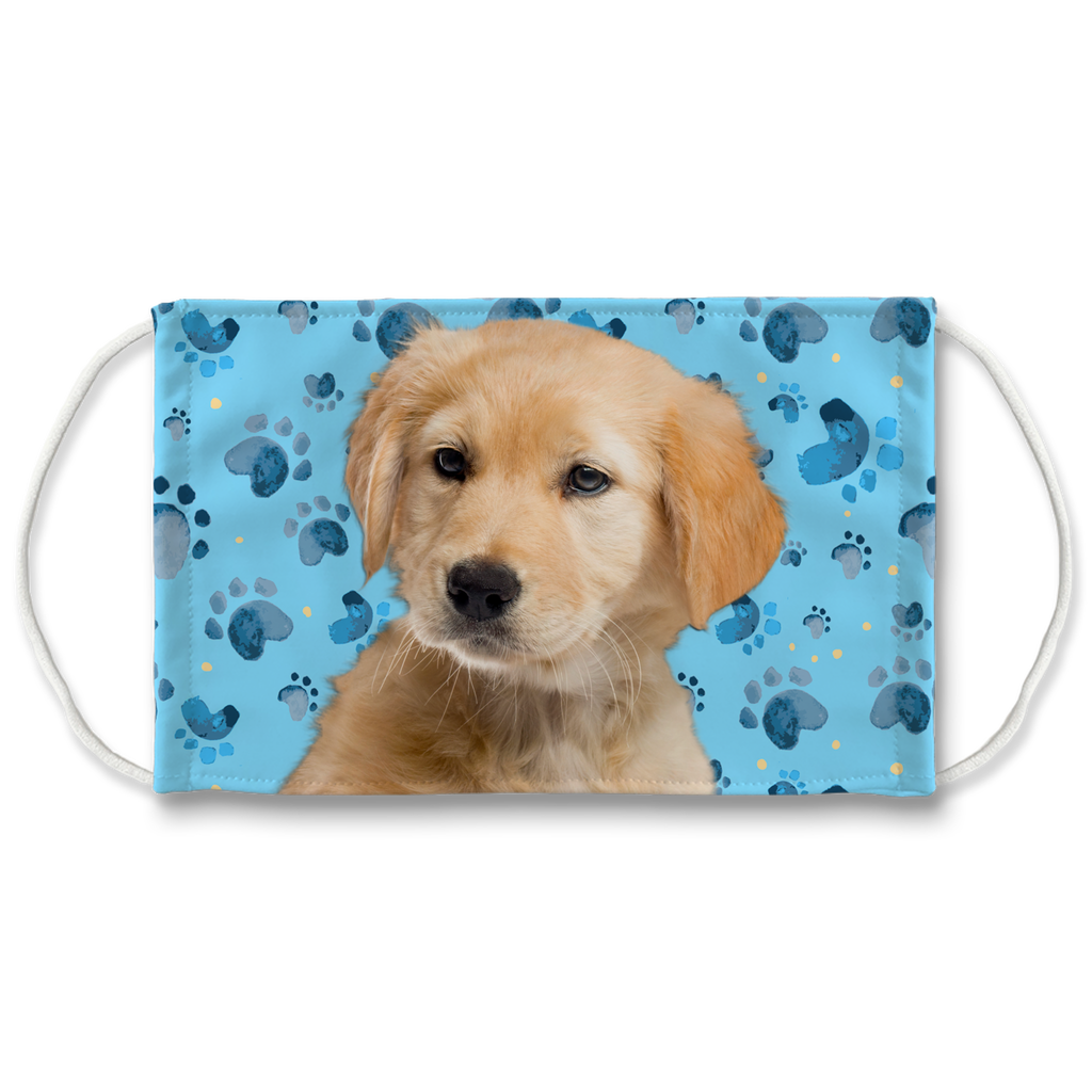 Golden Retriever Puppy Blue Paw Print Sublimation Face Mask