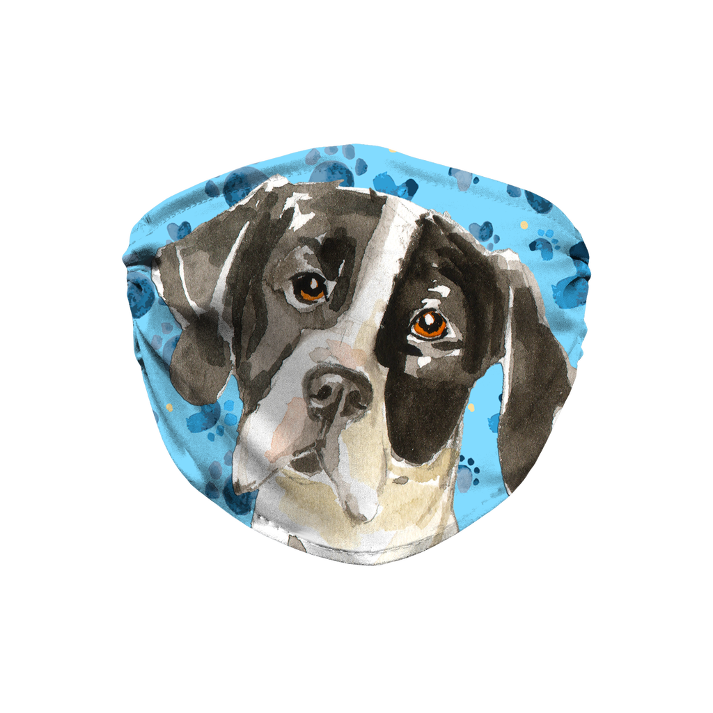 English Pointer Blue Paw Print Sublimation Face Mask