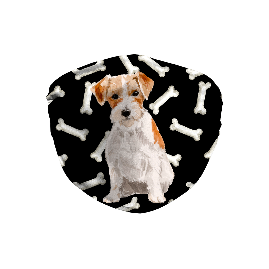 Jack Russell Wire Haired Terrier Dark Bones Sublimation Face Mask