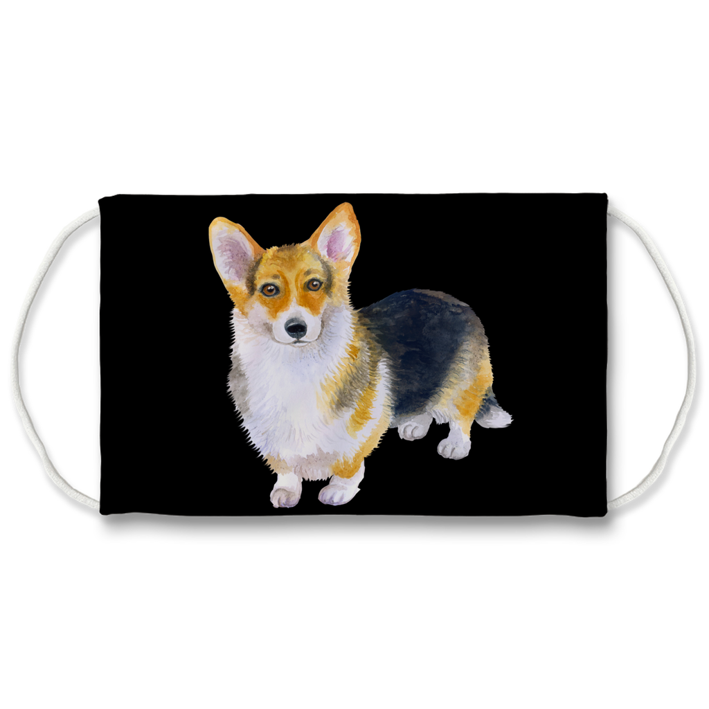 Pembroke Corgi Dog Black Sublimation Face Mask