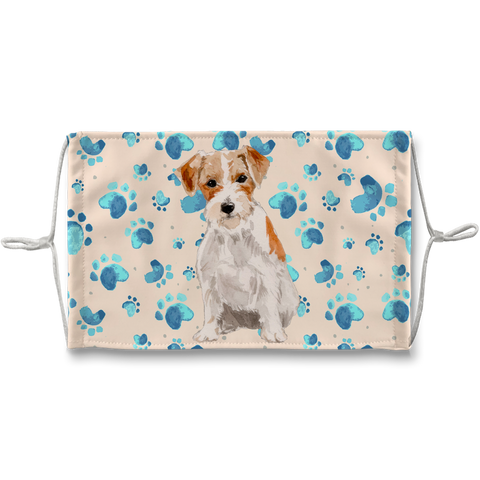 Jack Russell Wire-haired Terrier Tan Paw print Sublimation Face Mask
