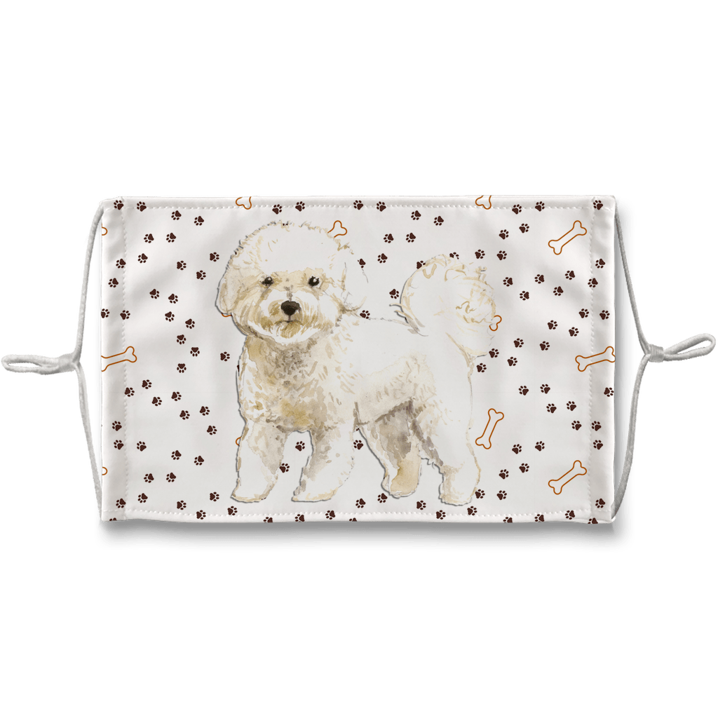 Bichon Frise Dog Paw Print Sublimation Face Mask