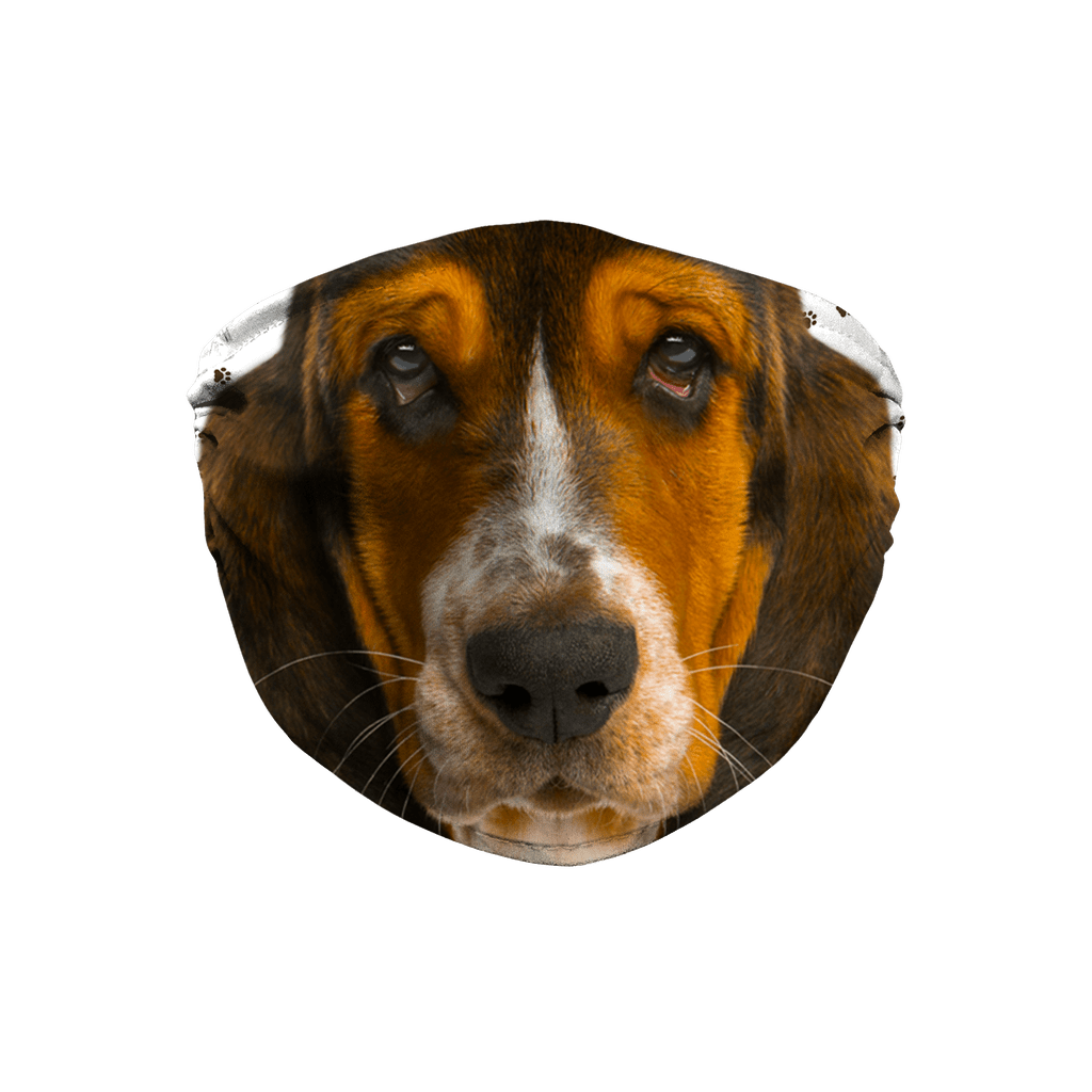 Basset Hound Puppy Muzzle Paw Print non-medical Sublimation Face Mask
