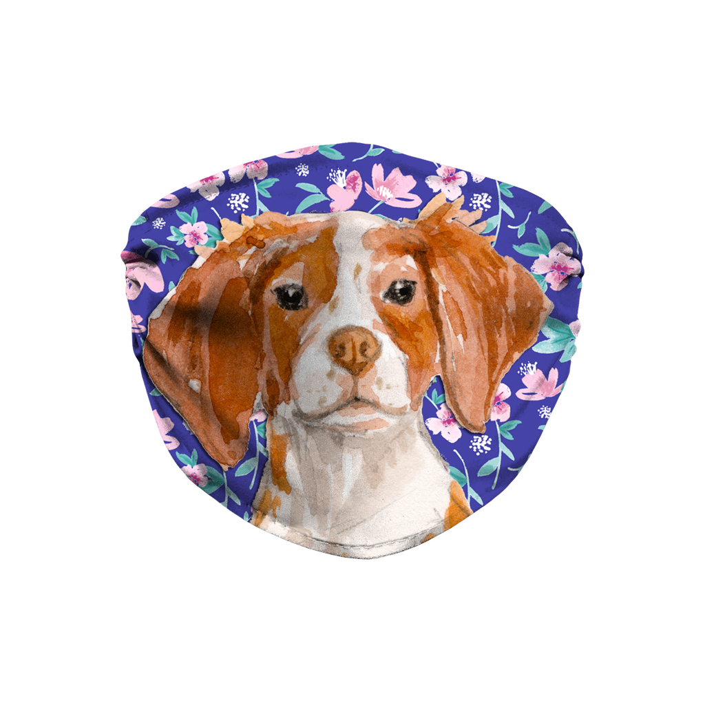 Brittany Spaniel Dog Blue Floral Sublimation Face Mask