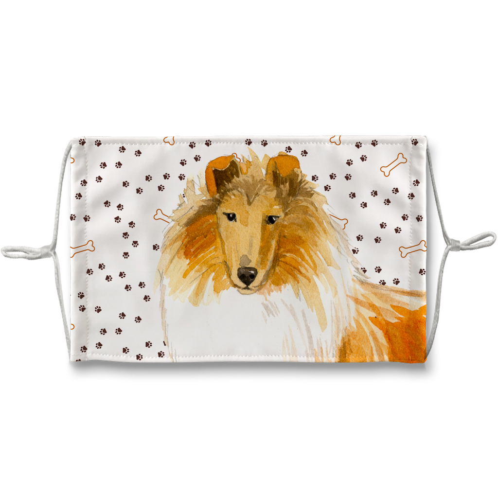 Collie Dog Paw Print Sublimation Face Mask