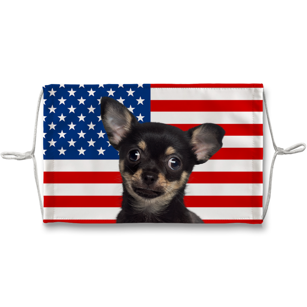 Chihuahua Black and Tan on USA Flag Sublimation Face Mask