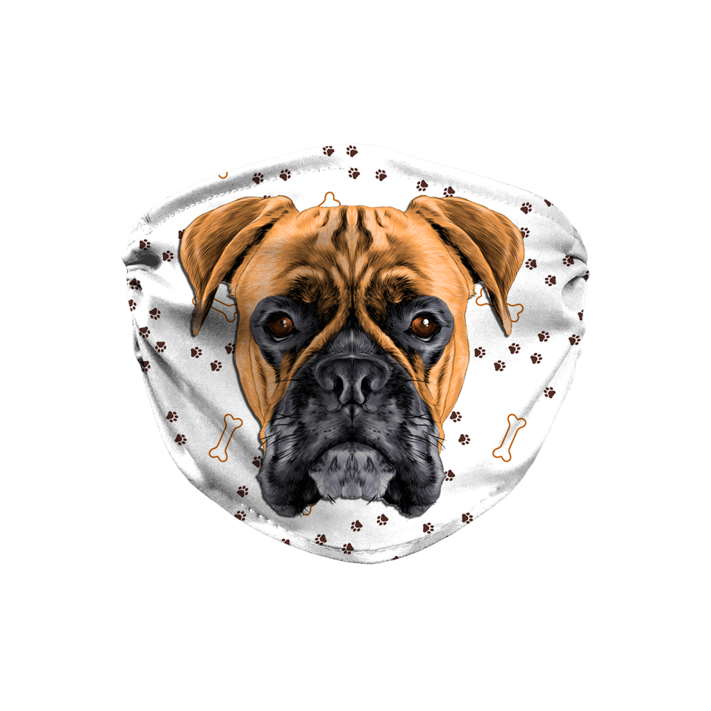 Boxer Dog Paw Print Sublimation Face Mask